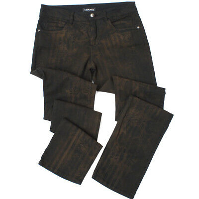 CHANEL RUST BROWN FLORAL PRINT SLIM COTTON DENIM STRETCH PANTS 48 FR / 16 US $1K