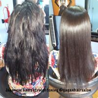 Japanese hairs straightening Rebonding olaplex treatment