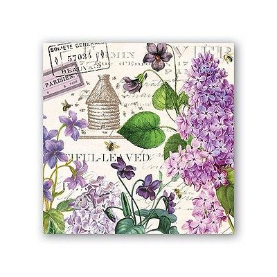 Michel Design Works Lilac and Violets 20 Paper Cocktail Napkins 2017 NEW