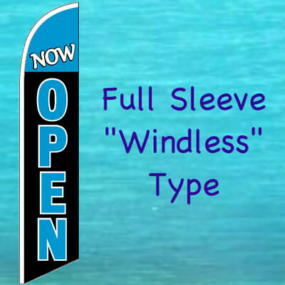 Now Open Windless Banner Flag Tall Curved Top Advertising Sign Feather Swooper