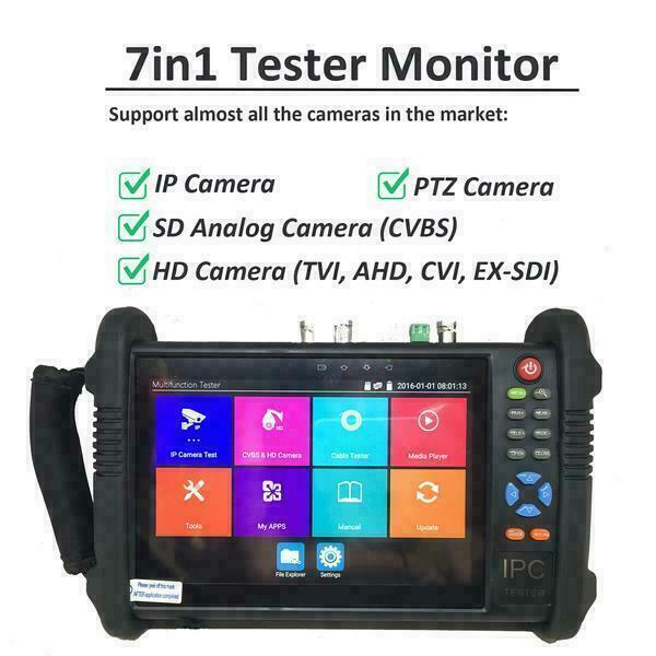 "7"" Tester Monitor Pro 7in1 for IP PTZ HD TVI AHD CVI SDI & SD Analog CVBS camera"