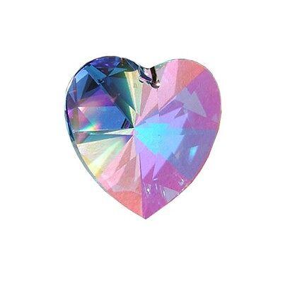 Swarovski Crystal 20mm Aurora Borealis Heart Prism Pendant