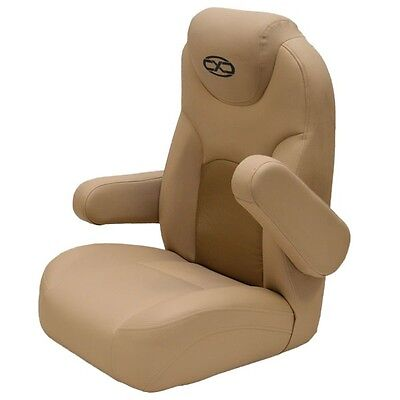 South Bay Beige  Reclining Captains Marine Boat Seat Chair w/ Mesh Storage