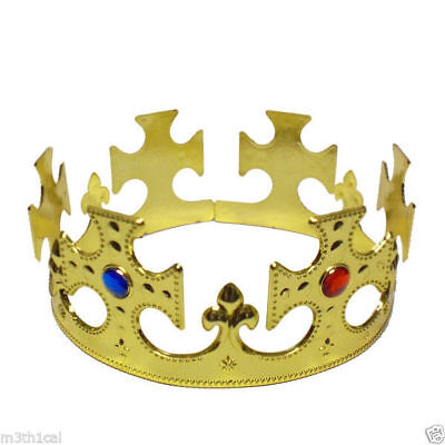 King Crown Hat Gold Jeweled Regal Adults Prince Costume Adjustable Size Plastic - Halloween King Crown