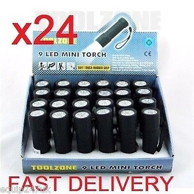 24X RUBBER 9 LED TORCHES torch camping night light lights torchs Bulk Box of 24