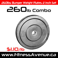 260lbs Bumper Weight Plates 2 Inch Set – Brand New