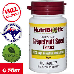 NutriBiotic Grapefruit Seed Extract 125 mg 100 Vegan Tablets Made Without Gluten