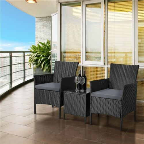 3 Pcs Patio Furniture Set PE Rattan Wicker Chairs Conversation Set with Table