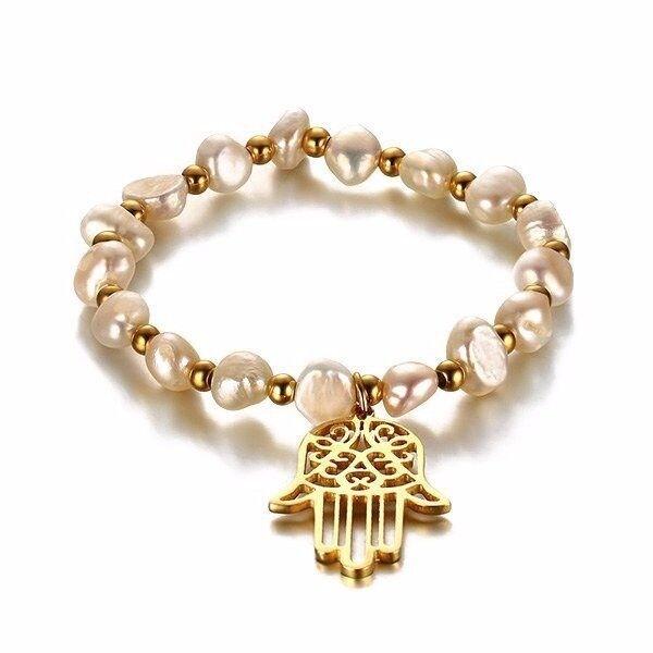 Faux Pearl Hollow Hand Charm Bracelet