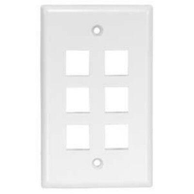 (6 Port/Hole Keystone Snap-in Jack Insert Wall Plate Faceplate 1-Gang)