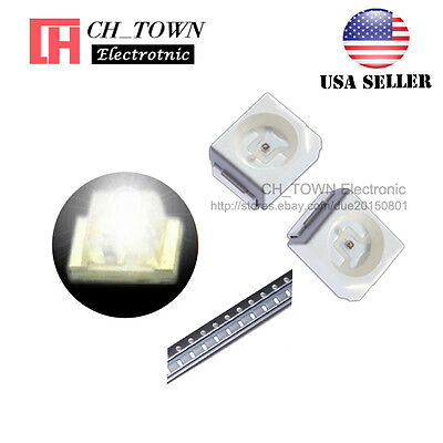 100PCS 1210 (3528) White Light PLCC-2 SMD SMT LED Diodes Ultra Bright USA