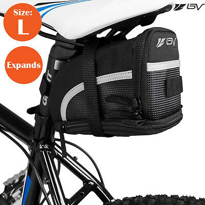 BV Bike Seat Saddle Bag, Bicycle Rear Tail Strap-On Pouch Large NEW SB1-L