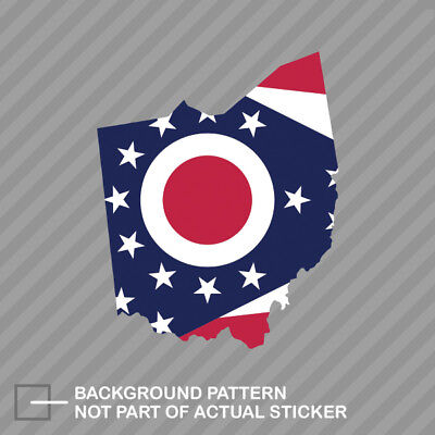 Ohio State Shaped Flag Sticker Decal Vinyl -
