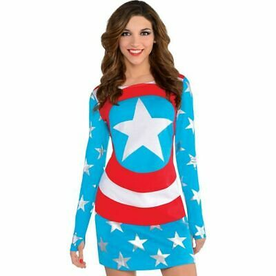 Avengers Captain America Dream Damen Langarm Verkleidung Marvel Größe 36 (Captain America Damen Kostüm)