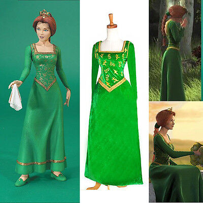 New Shrek Princess Fiona Dress Princess Cosplay Theater Costume Gown Green