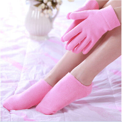 - Rose Oil Gel Spa Gloves Sock Set Whiten Soften Repair Dry Hand Foot Skin Care US