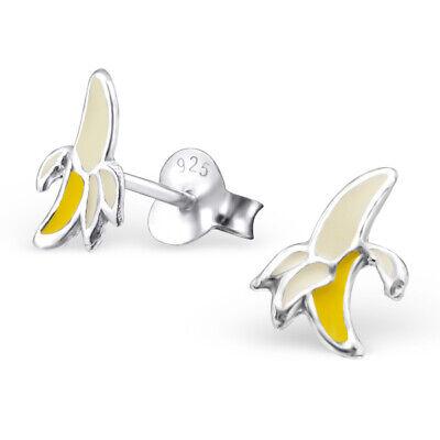 1049:Yellow Banana Sterling Silver Kids Women Stud Earrings Sterling Silver Banana