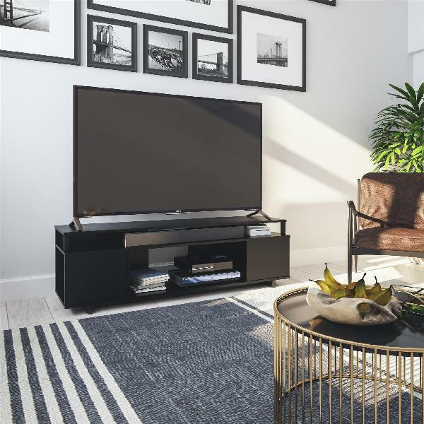 TV Media Stand For TVs Up To 65 Inch Black Oak Console Enter