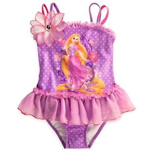 Girl Deluxe Disney Princess Rapunzel Minnie Swimsuit Bathing Suit 4 5/6 7/8 10