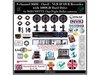 4 Camera Full CCTV Kit, 960H HD DVR 1TB HDD, 4x 900TVL IR-CUT Day/Night Cameras