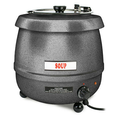 New Commercial 10.5 Quart Silver Electric Soup Kettle Warmer - Free Shipping