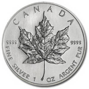 Lot 5 pieces en argent/silver maple leaf coins 1 oz .9999
