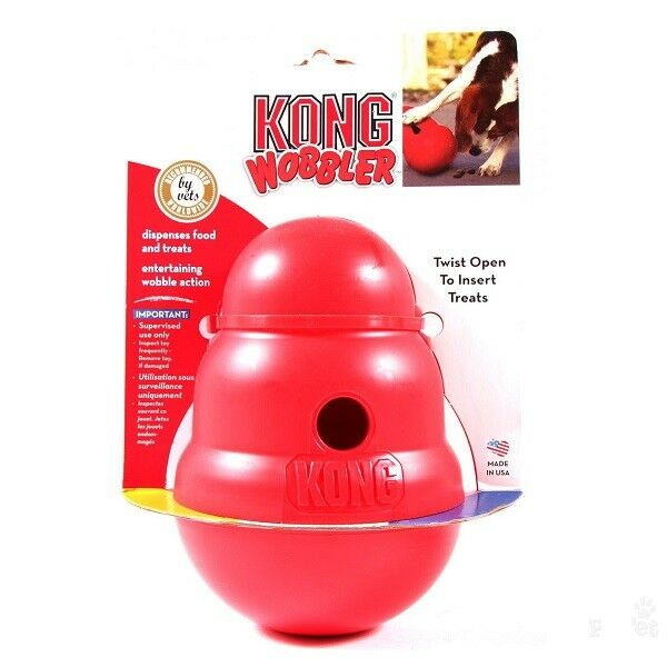 Details about KONG Wobbler Treat Dispenser Dog Chew Toy Slow Feed Anti Gulp Bowl or Treats