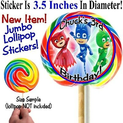 - 12 PJ Mask Birthday Party Baby Shower Jumbo Big Round Lollipop Stickers