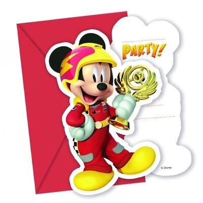 Einladungen Mickey Roadster, 6er, inkl. Umschläge ()