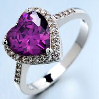 Cubic Zirconia Purple Heart Ring - Size 8