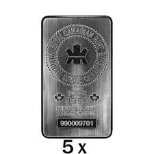 50 oz | 5 x 10 oz Silver Bar - Royal Canadian Mint - RCM - .9999 Ag