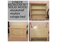 OFFERS WELCOME 3 PIECE BEDROOM SET SOLID WOOD SINGLE BED TOYBOX BOOKSHELF