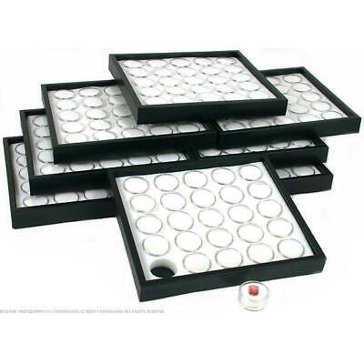 8 White 25 Gem Jars Display & Stackable Tray