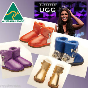 HAND-MADE-Australia-Shearers-UGG-Crystal-Button-Mini-Glitter-Sheepskin-Boots