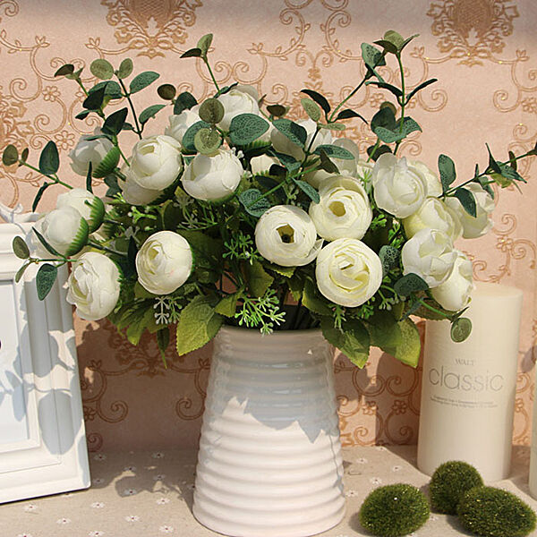 10 Heads Artificial Silk White Flower Spring Rose Hydrangea Home Decor Party