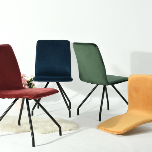 2PCS Modern Kitchen Dining Chairs Soft Velvet Seat Cushion C
