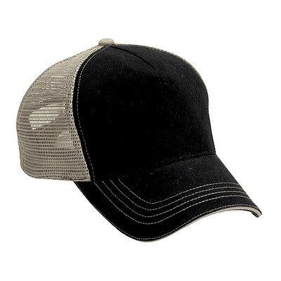 12 (1 Dozen)  Blank Trucker Hats Black Cotton Front Khaki Mesh Super Cool.  Blank Trucker Hats