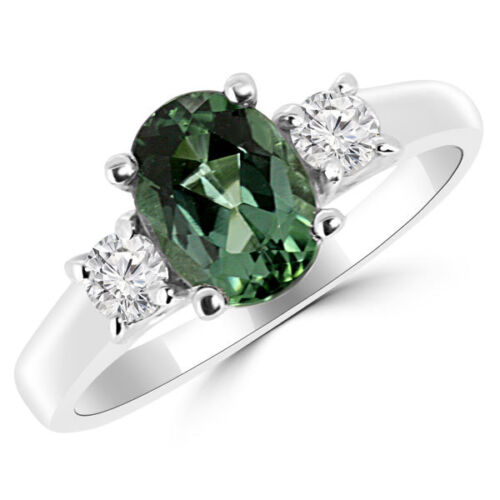 Oval Green Tourmaline Diamond 3-stone Engagement Bridal Ring 14k White Gold