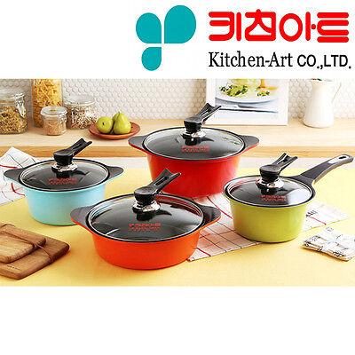 [KitchenArt]Color Ceramic Pots Die Casting Ceramic Coating Kitchenware 4Set/