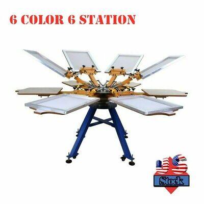 6 Color 6 Station Screen Printing Press Machine Carousel Equipment - Usa