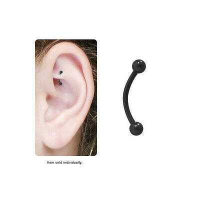 Black Eyebrow Ring - Black Rook Earring Black Anodized Curved Barbell Eyebrow Ring Cartilage 16G