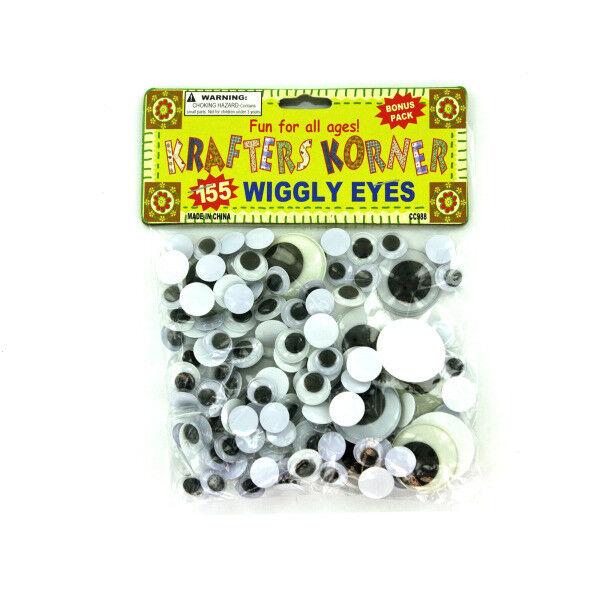 Set of 24 Bulk Lot Krafters Korner 155pc Plastic Wiggly Googly Eyes Packs