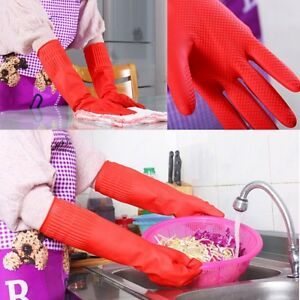 Red Rubber Glove Latex Kitchen Long Dish Washing Cleaning Protect Hand Household