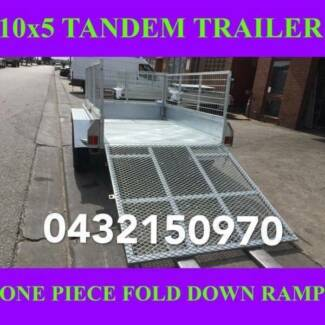 10x5 tandem trailer fully galvanised with cage & fold down ramp 1