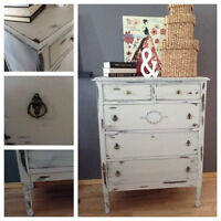 exceptional 1930's Antique shabby chic tall boy dresser