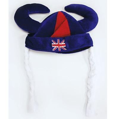 Gb Großbritannien Viking Wikinger Kostüm Hut mit Zöpfe Königliche - Großbritannien Kostüm