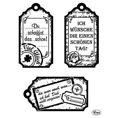 """Viva Decor Silikonstempel clear stamps """"Tags Glückwunsch"""" Motivstempel 4003128"""