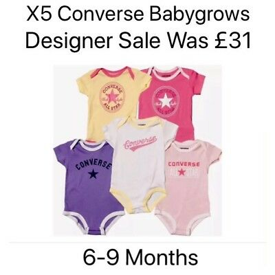 X5 CONVERSE Babygrows Vest 6-9 Months Baby Grow Playsuit Bundle Girl SALE Cute ()