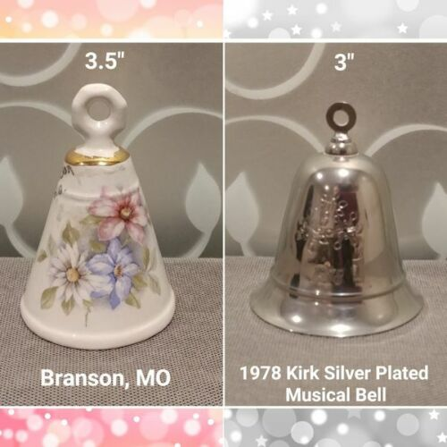 Ceramic Branson,MO Bell & 1978 Kirk Silver Plated Wind Up Musical Christmas Bell