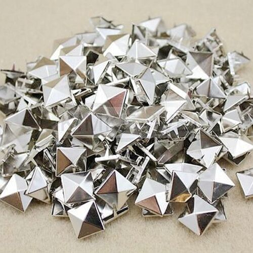 100x Punk Pyramid Studs Rivets Spots Spikes For Bag Shoes Clothes Leather Crafts